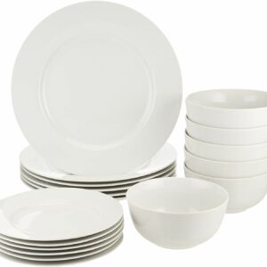 AmazonBasics 18-Piece White Kitchen Dinnerware Set
