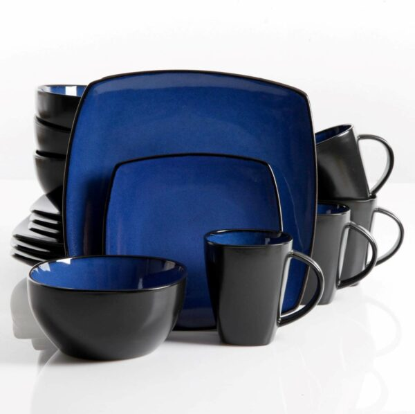 Gibson 61221.16RM Elite Soho Lounge Square 16-Piece Reactive Glaze Dinnerware Set