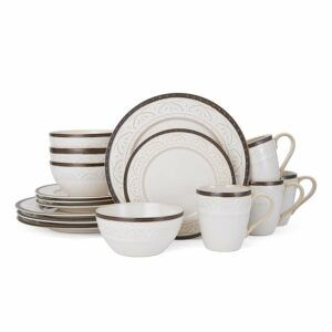 Pfaltzgraff 5217017 Promenade Scroll Dinnerware Set, White