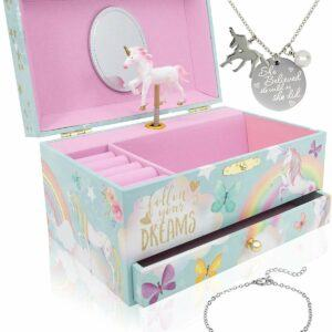 he Memory Building Company Unicorn Music Box & Little Girls Jewelry Set