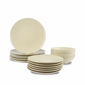 AmazonBasics 18-Piece Stoneware Dinnerware Set - Cream, Service for 6