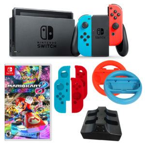Nintendo Switch in Neon with Mario Kart Game and Accessories