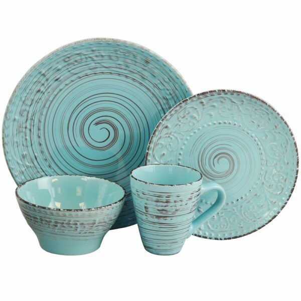 Elama Malibu Waves 16-Piece Dinnerware Set in Turquoise