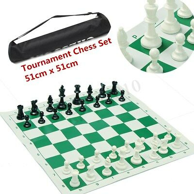 51x51CM PORTABLE TOURNAMENT CHESS SET PLASTIC PIECES + ROLL BOARD WITH BAG New