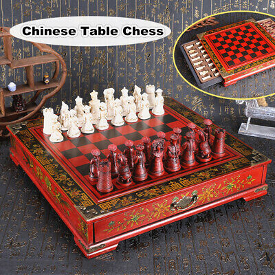 Vintage Wooden Chinese Chess Board Table Games Set Pieces Gift Collectible Retro