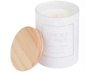 White Holographic Lemon And Cypress Filled Jar Candle