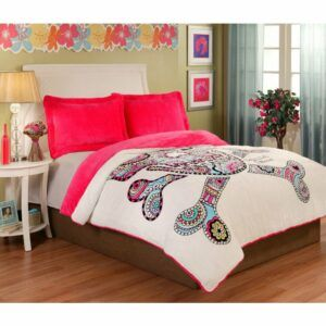 Punk Love Sugar Skull Velvet Plush 3-piece Comforter Set - Twin