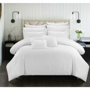 Porch & Den Mason Down Alternative Jacquard White Striped 7-piece Comforter Set - Twin