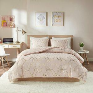 Intelligent Design Addie Blush Metallic Print Reversible Comforter Set - Twin