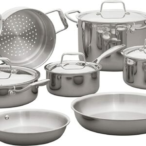 Amazon Brand Stainless Steel Kitchen Cookware Set,12-Piece