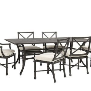"""Suzanne Kasler Directoire 7-Piece 84"""" Rectangular Dining Set with Cushions"""