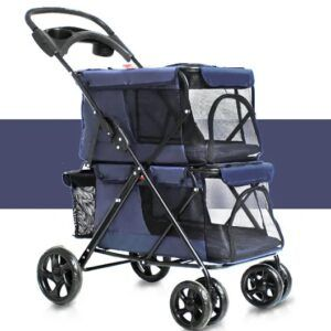 Pet Stroller 4 Wheel Folding Cat Dog Breathable Pet Cart