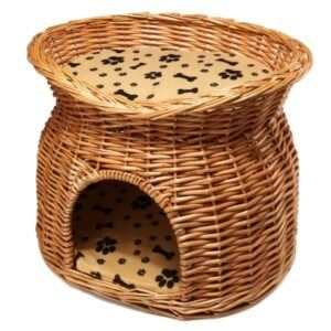 2 Tier Wicker Cat Bed Basket Pet Pod