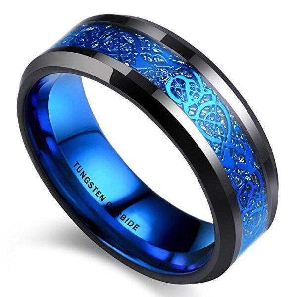 Mens Celtic Wedding Bands Black with Inner Blue Tone