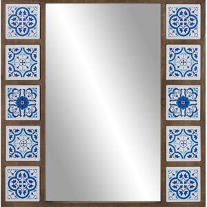 Patton Wall Decor 28x38 Indigo Moroccan Tile Framed Wall Mirror