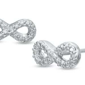 Diamond Accent Beaded Infinity Stud Earrings in Sterling Silver
