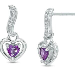 3.0mm Heart-Shaped Amethyst Dangle Drop Earrings in Sterling Silver