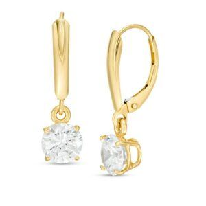 2 CT. T.W. Certified Diamond Solitaire Leverback Earrings in 14K Gold