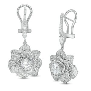Vera Wang Love Collection 2-3/4 CT. T.W. Diamond Rose Drop Earrings in 18K White Gold