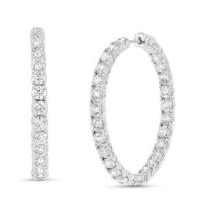 8 CT. T.W. Diamond Inside-Out Hoop Earrings in 14K White Gold