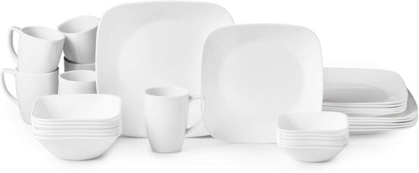 Corelle Boutique Square Vivid White 30-Piece Dinnerware Set