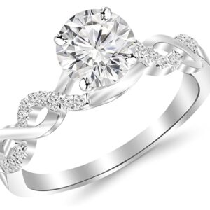 0.63 Carat Twisting Infinity Gold and Diamond Engagement Ring