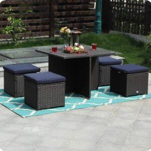 Outdoor Furniture Rattan Sectional Sofa Set with Cushions
