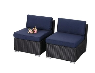 Blue Rattan Patio Sectional Sofa