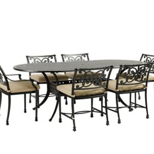 "7-PIECE 84"" OVAL DINING SET WITH CUSHIONS"