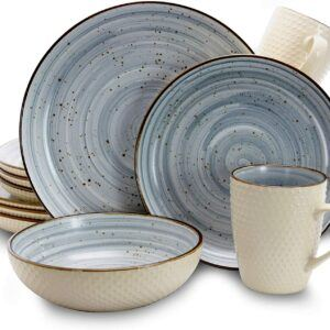 Elama Round Stoneware Luxurious Mellow Dinnerware Dish Set