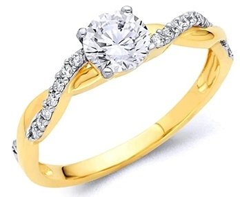 14k REAL White Gold SOLID Wedding Engagement Ring